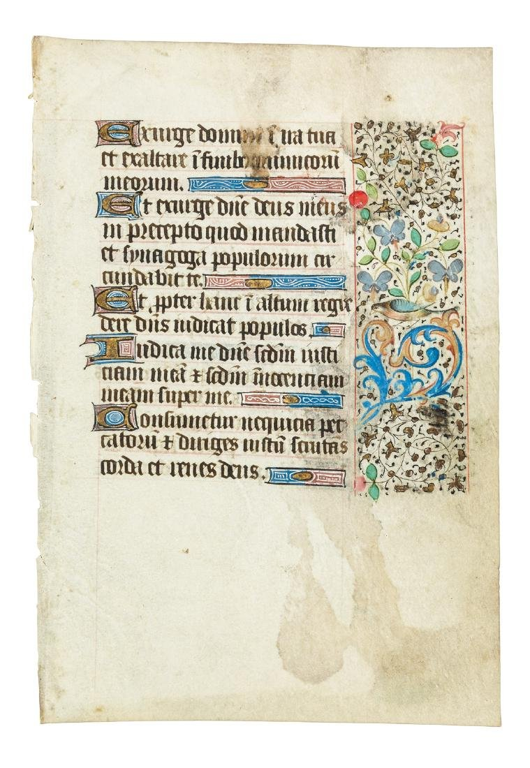 Leaf from a French 15th Century Book of Hours