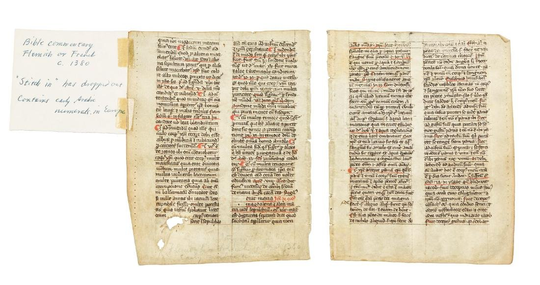 Two 14th century manuscript leaves of bible commentary