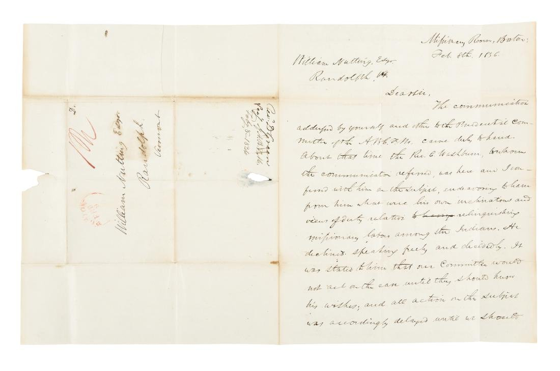 1836 Letter, 'Apostle to the Indians' in Arkansas on