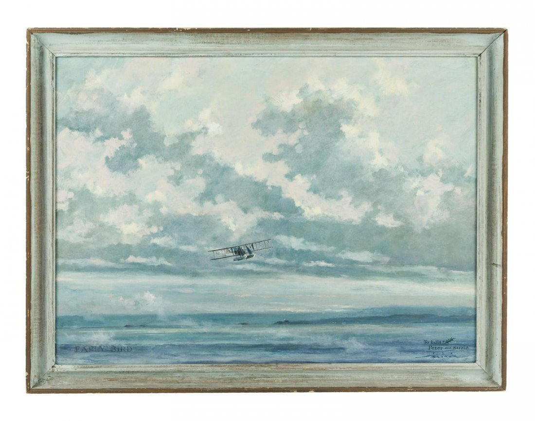 Eric Sloane painting of biplane in the clouds