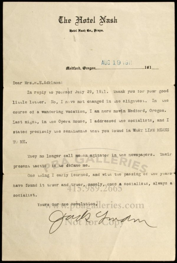 1188: Typed letter, signed by Jack London
