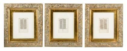 Three manuscript bible leaves
