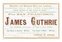 Clipper Ship Card for James Guthrie by Nesbitt