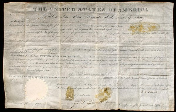 2003: Land Grant Signed by John Quincy Adams