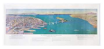 Color lithograph of San Francisco by EA Burbank 1939