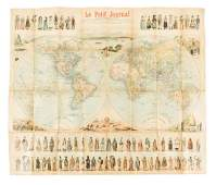 Rare world map with costumed natives