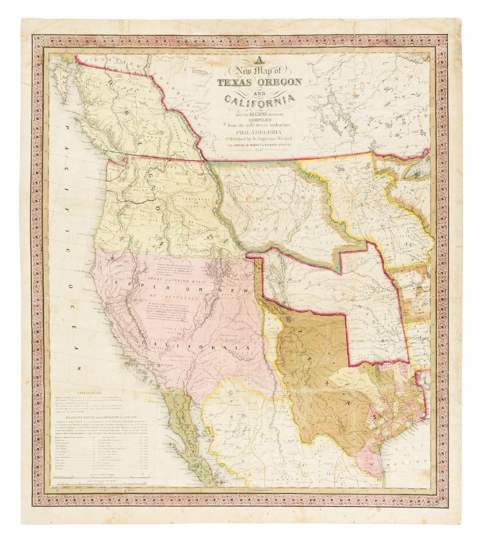 Mitchell's 1846 map of Texas, California & Oregon