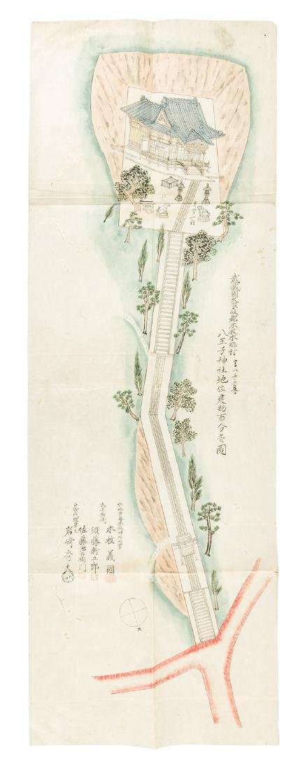 Japanese hand-painted architectural plan 1880