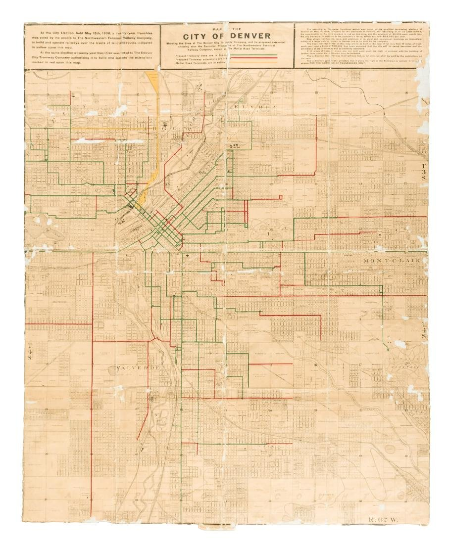 Map of the Denver tramways 1906