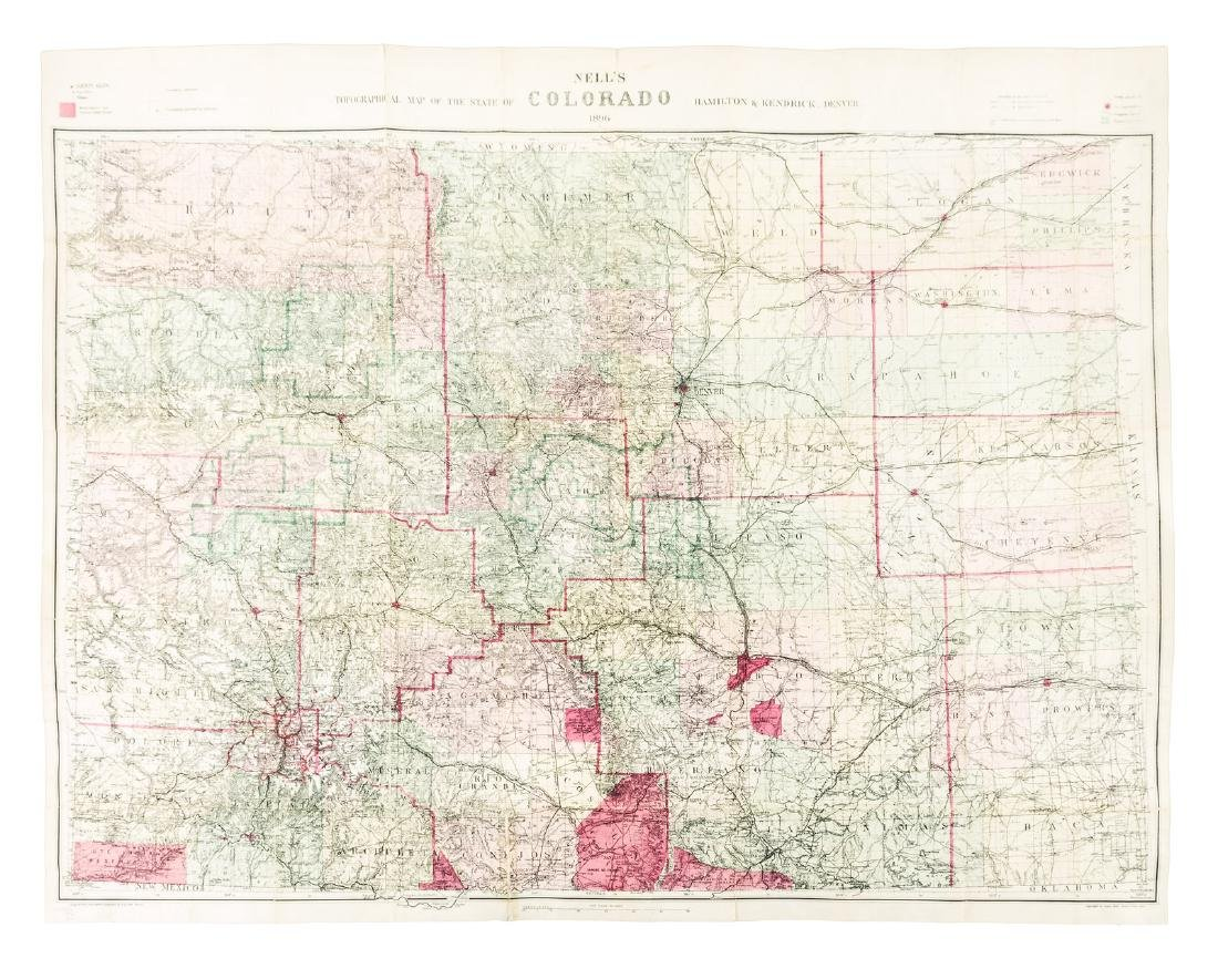 Nell's Topographical Map of Colorado 1896