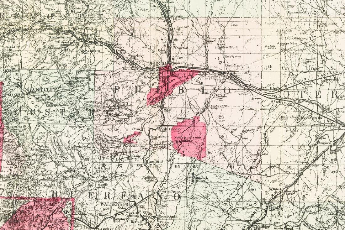 Nell's Topographical Map of Colorado 1896 - 2