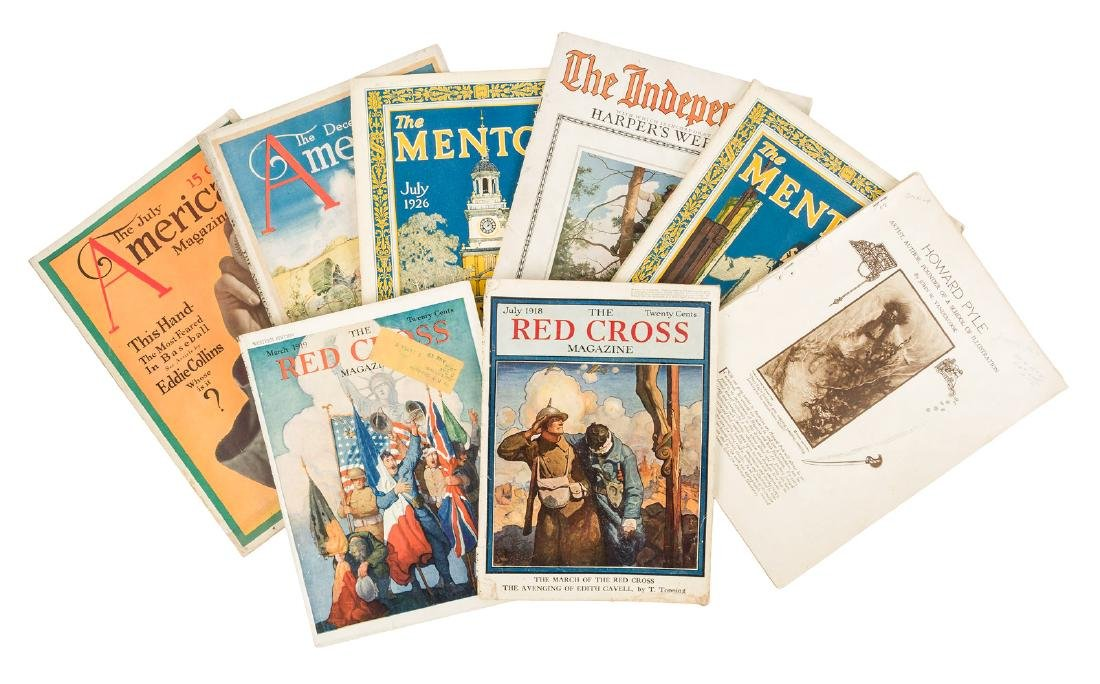 Collection of magazines featuring N.C. Wyeth art