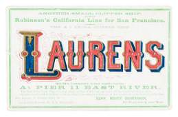 Clipper Ship Card for ship Laurens