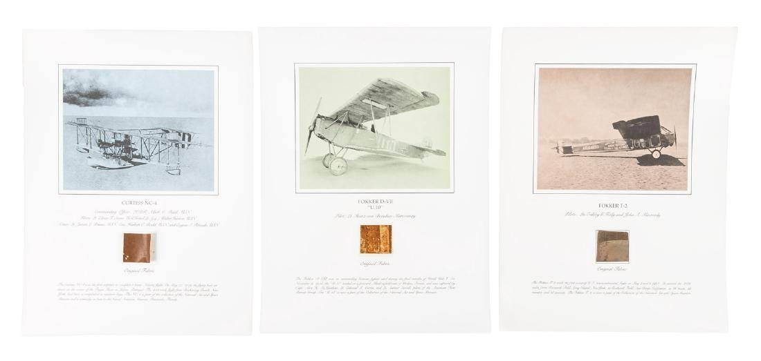 Three original fabric sections from classic aircraft
