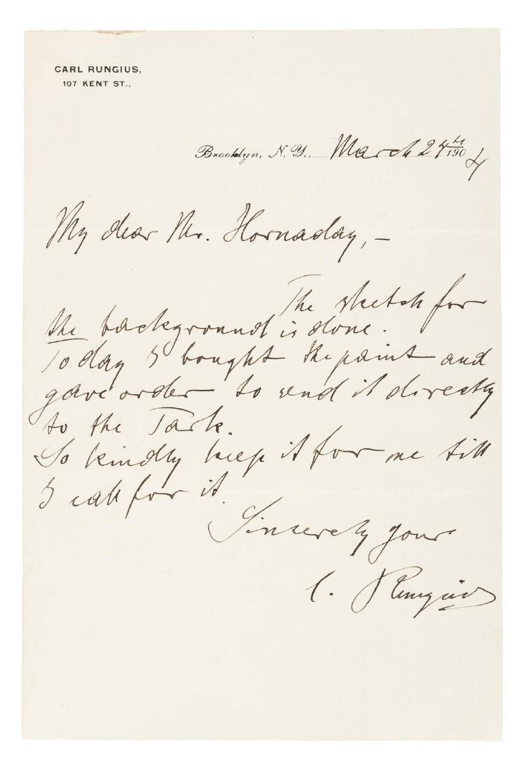 Carl Runguis writes to W.T. Hornaday, 1904