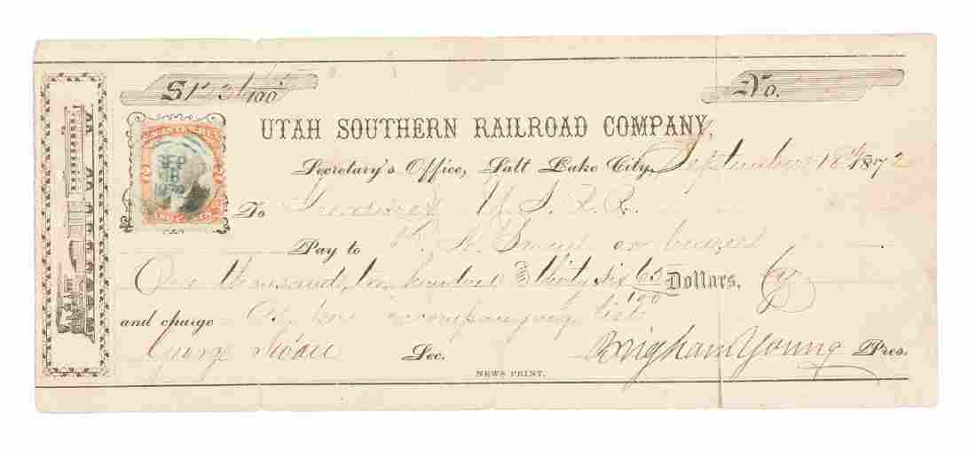Signed by Brigham Young as Railroad President
