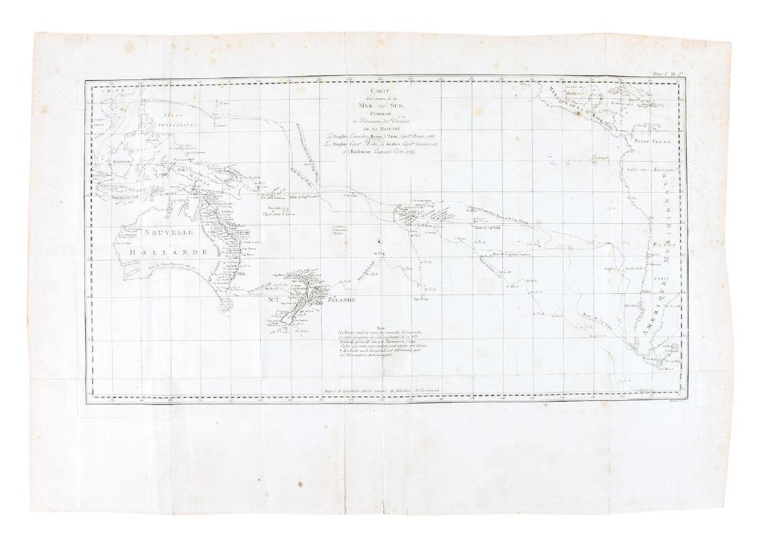 Chart of South Pacific with Cook's routes 1774