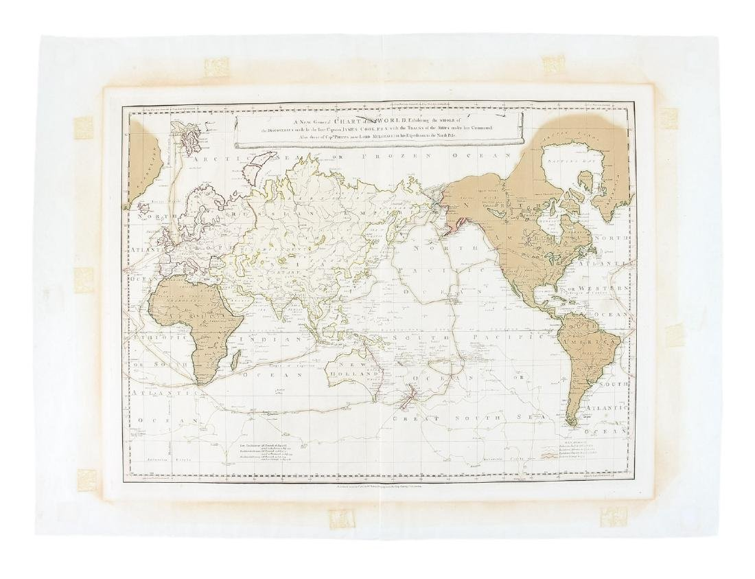 World chart with discoveries of James Cook 1787