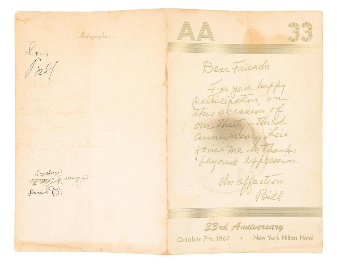 Program signed by AA founder Bill Wilson