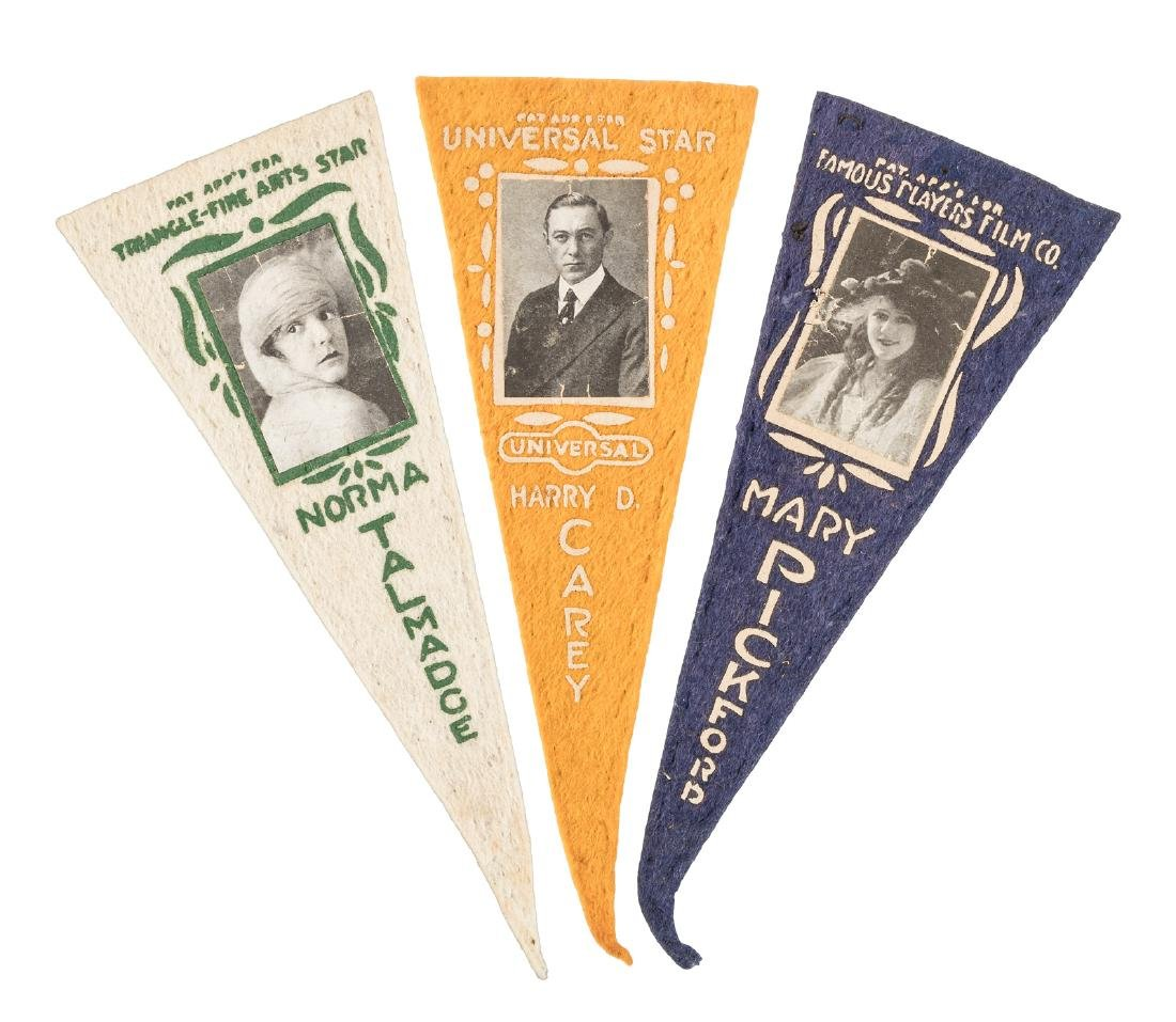 Three silent film star pennants