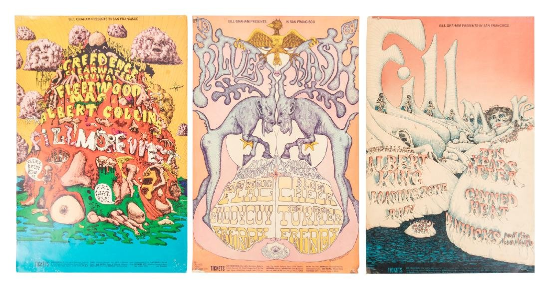 8 Fillmore posters with the art of Lee Conklin