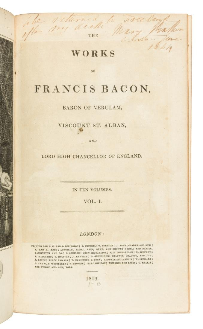 The Works of Francis Bacon in 10 volumes 1819 - 2