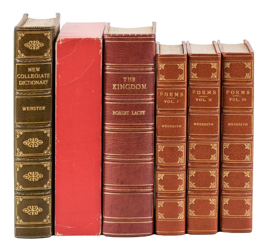 Shelf of finely bound works six volumes