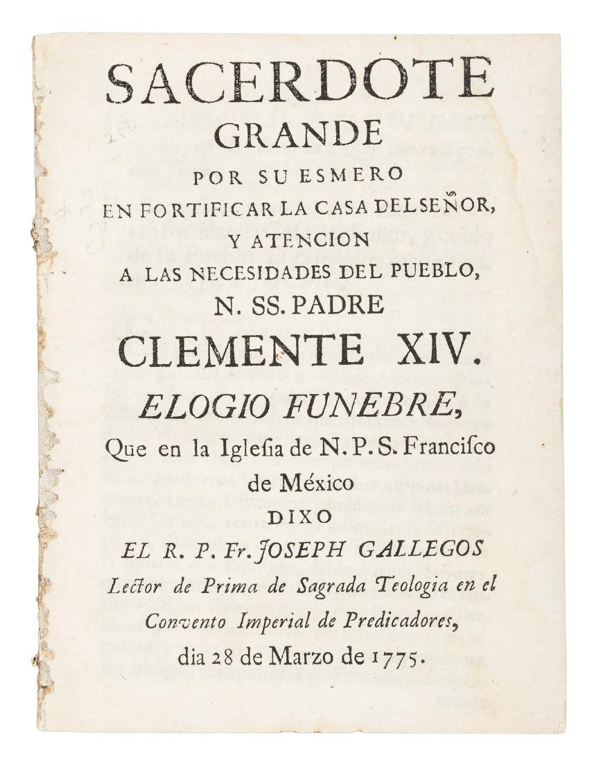 Pope's funeral oration by Mexican priest, 1775