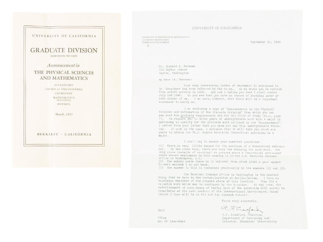 Letters to Richard Bateman from various astronomers