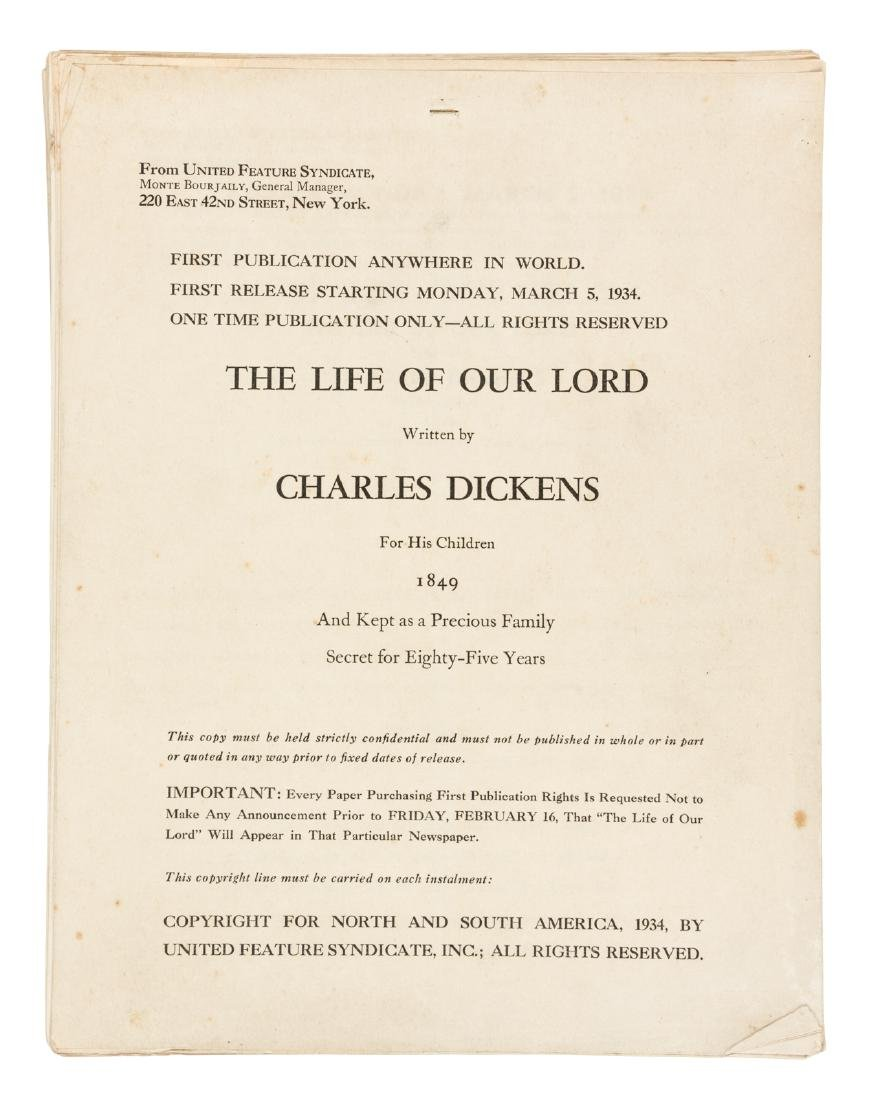Dickens Life of Our Lord 1st American appearance