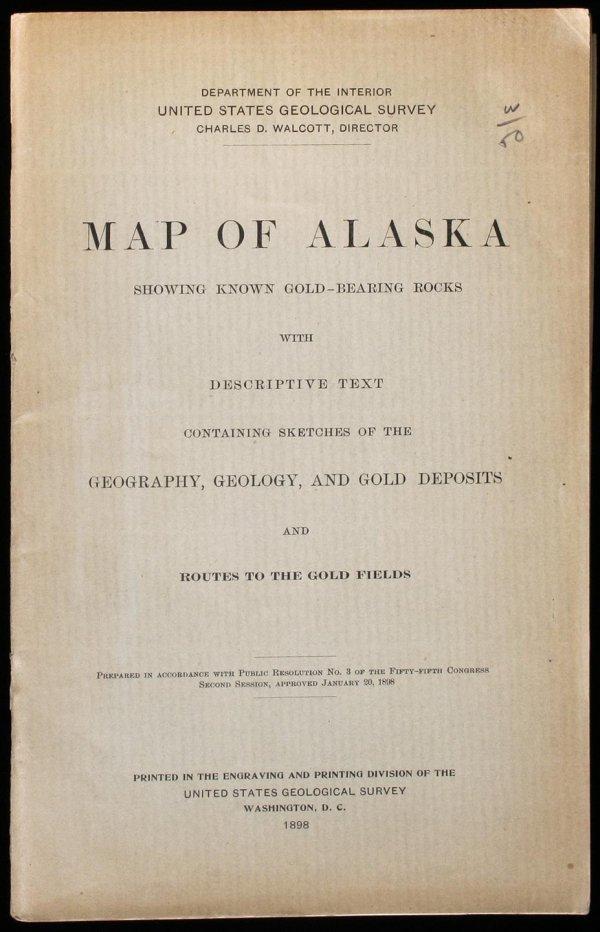 1008: Map Of Alaska Showing Known Gold-Bearing Rocks wi