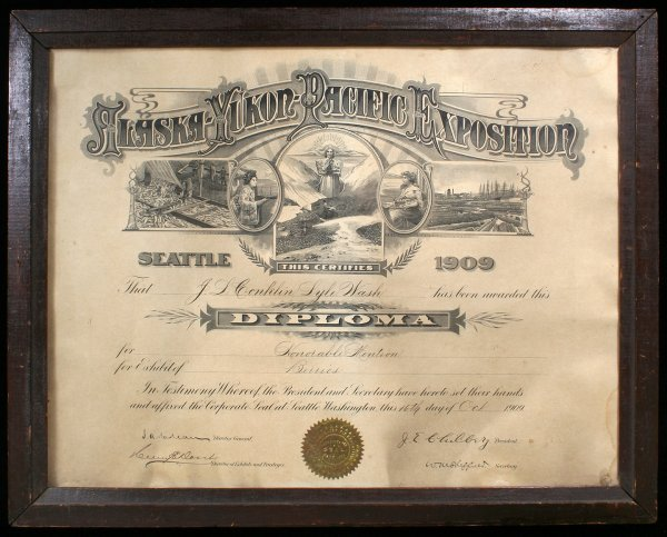 1011: Engraved certificate of award given at the Alaska