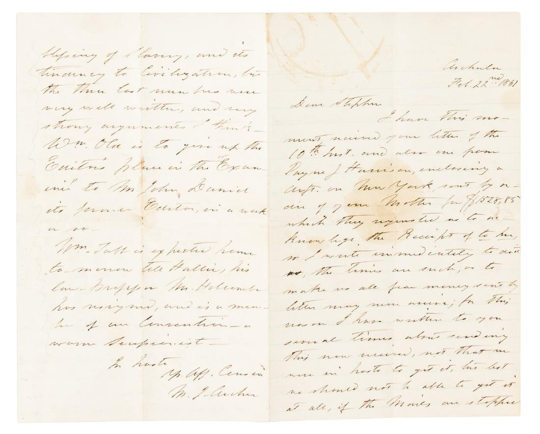 1861 Letter by a well-connected Virginian on the eve of