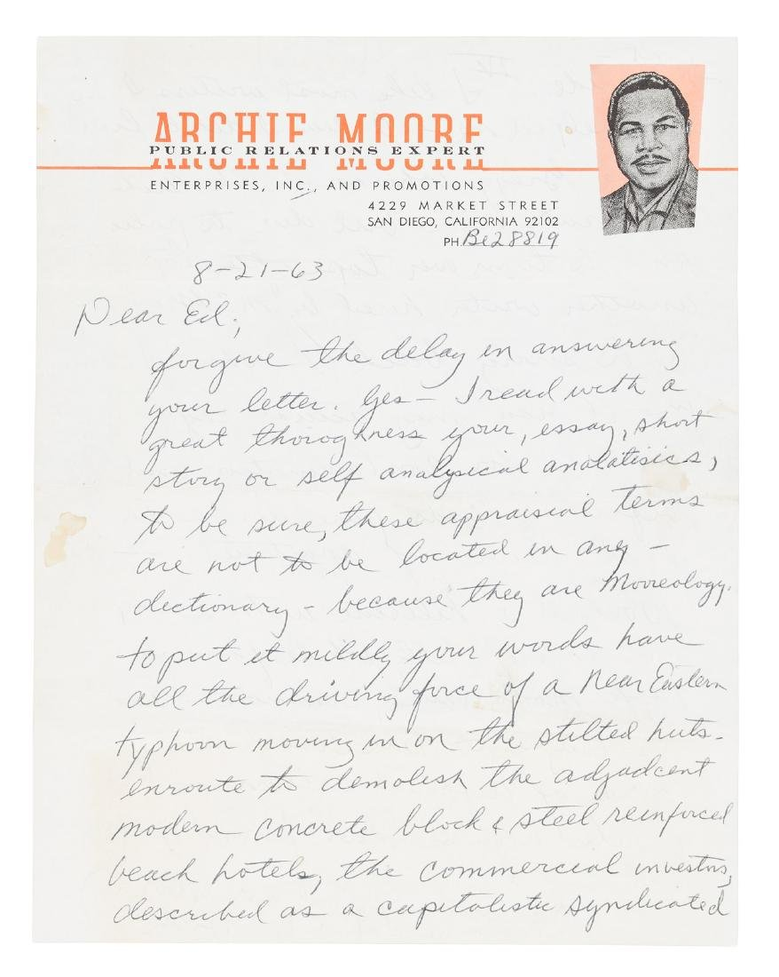 Archie Moore, famous world boxing champion, 1963 letter