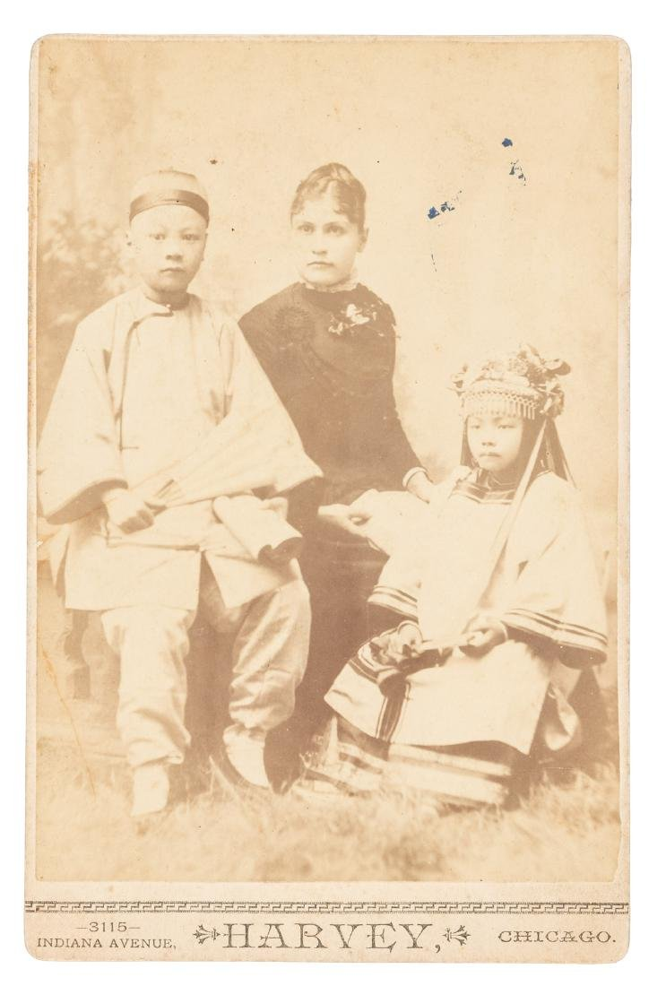 1880s Cabinet card photo, 2 Chinese children with