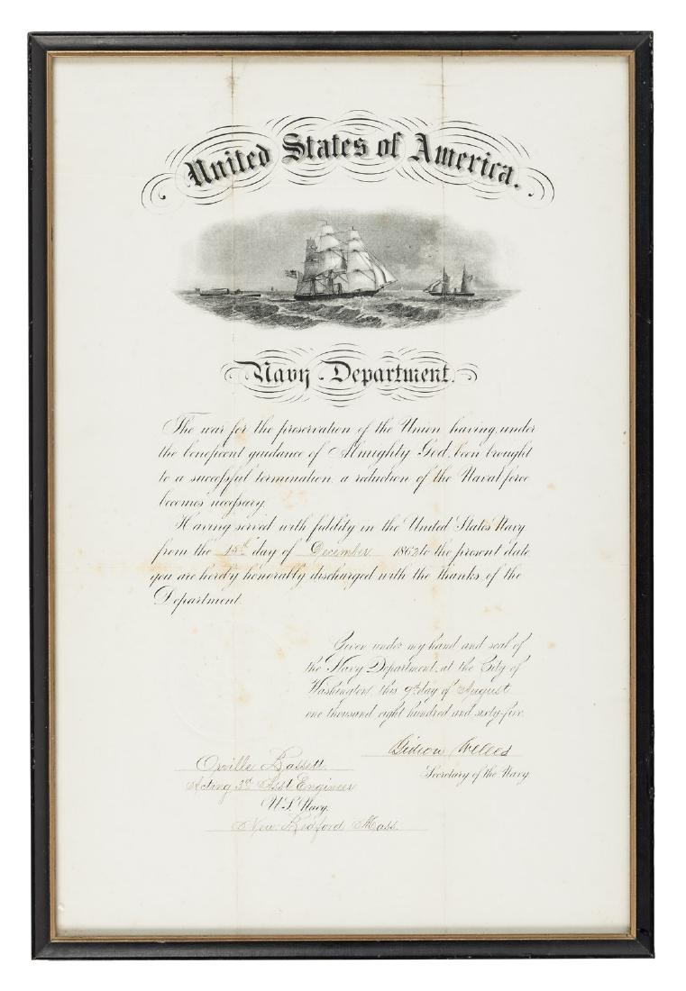 Discharge paper from Civil War navy