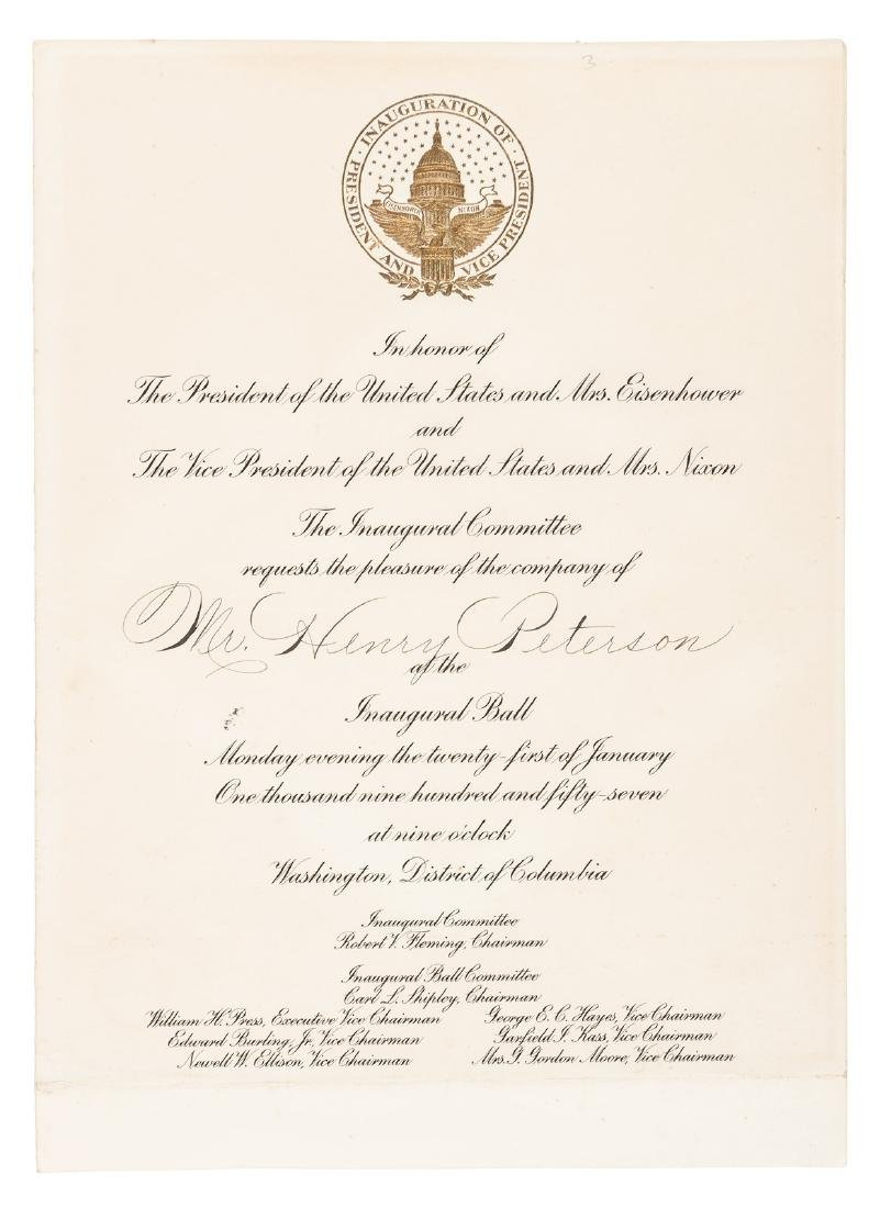 Invitation to Eisenhower inaugural ball 1957