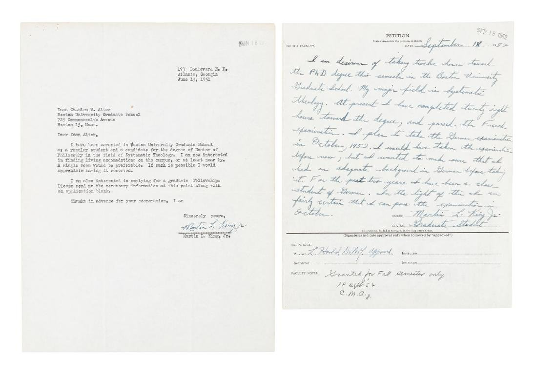 Two letters from Martin Luther King Jr at Boston