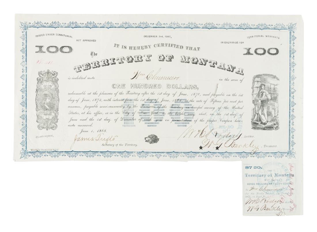 Montana $100 Territorial Warrant 1868