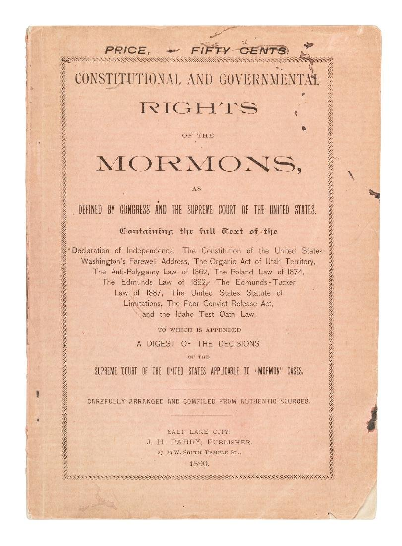 Governmental Rights of the Mormons 1890 rare