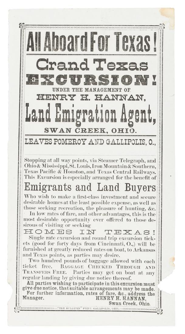 Texas excursion broadside, 1870