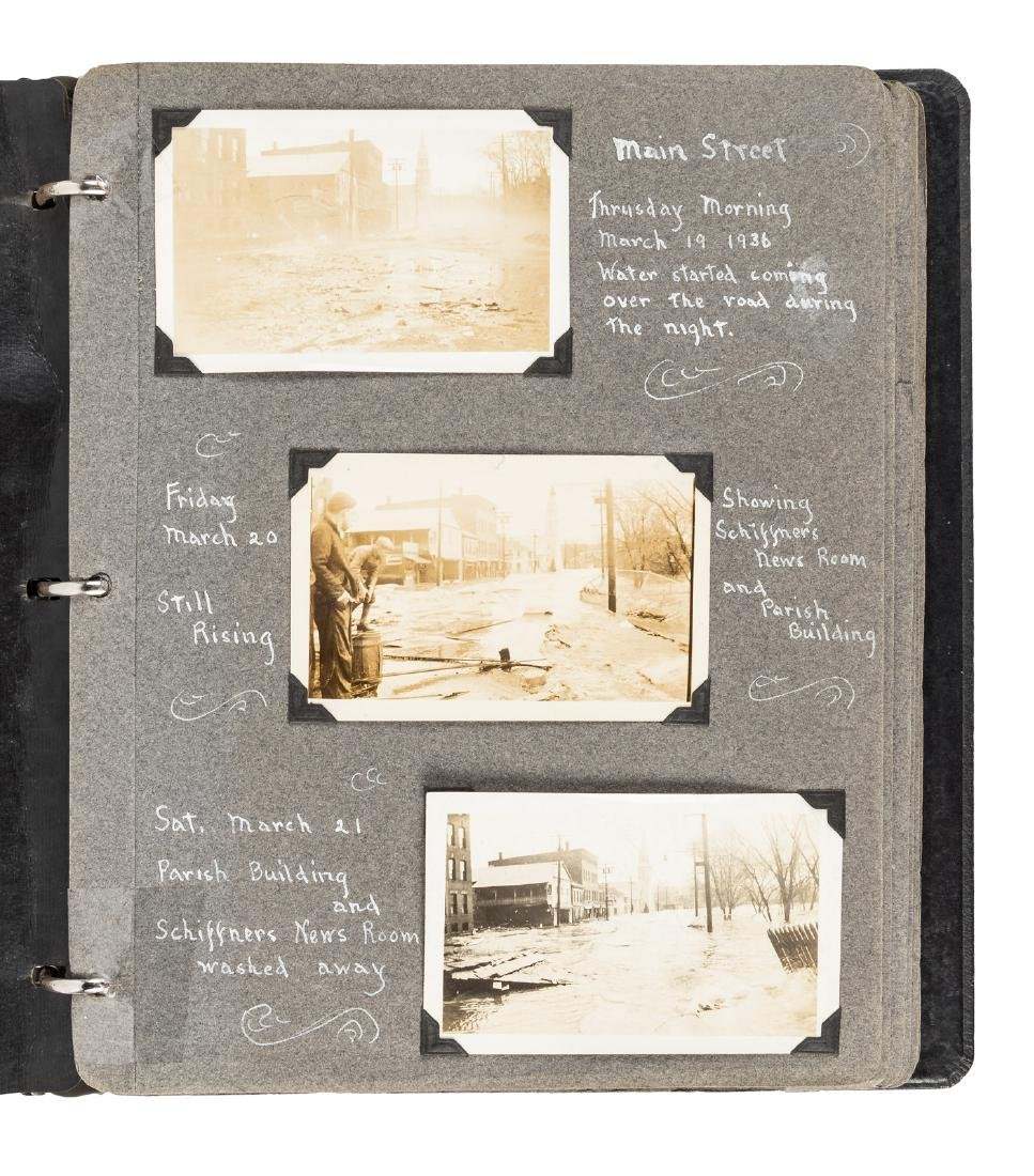 Photographs of flood and storm damage, WW1 soldiers