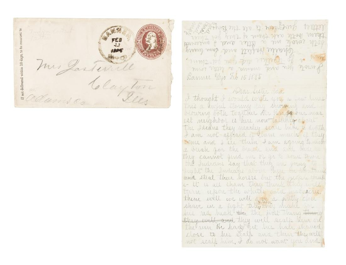 Wyoming Territory settlers fear Indians, 1885 letter