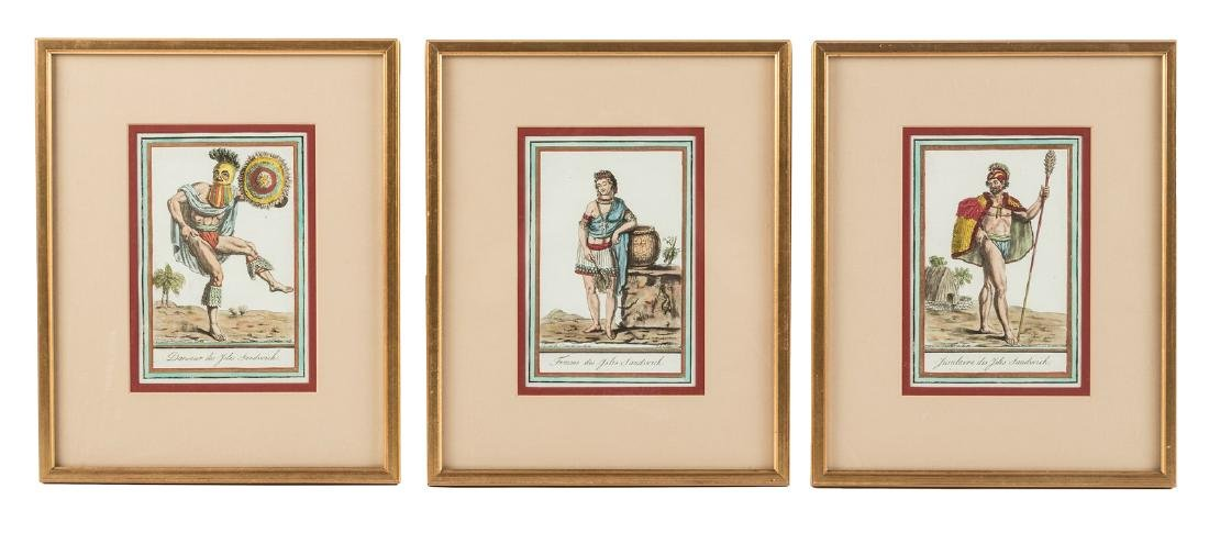 6 hand-colored copperplate engravings by J. Laroque
