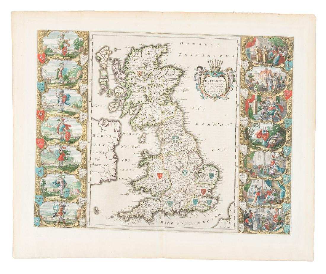 Blaeu's Britannia, 1645, with pictorial panels