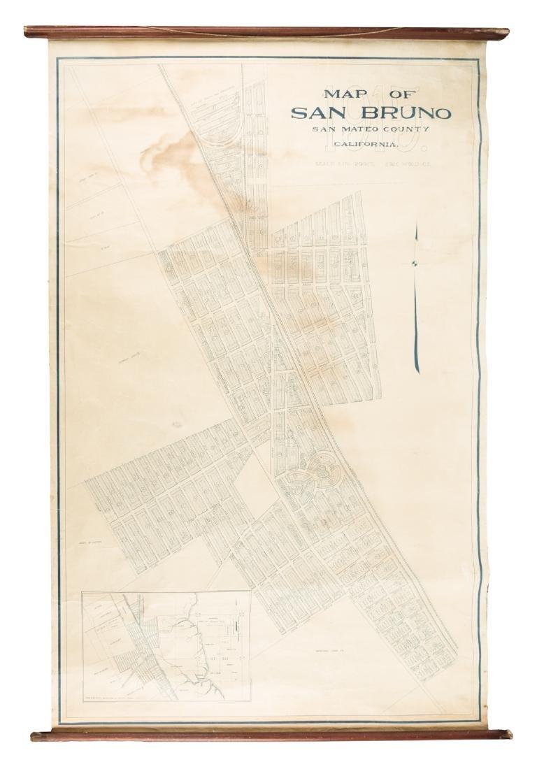 Rare wall map of San Bruno, California, 1915