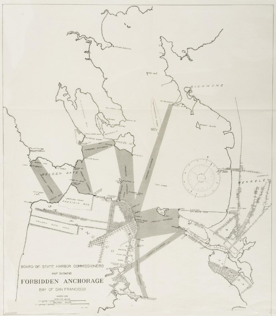 "Map showing ""Forbidden Anchorages"" in S.F. Bay 1918"