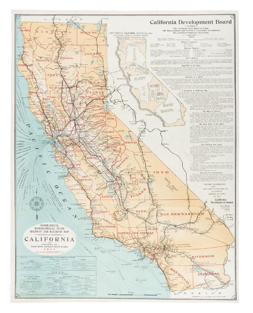 Highway & Railway map of California 1914