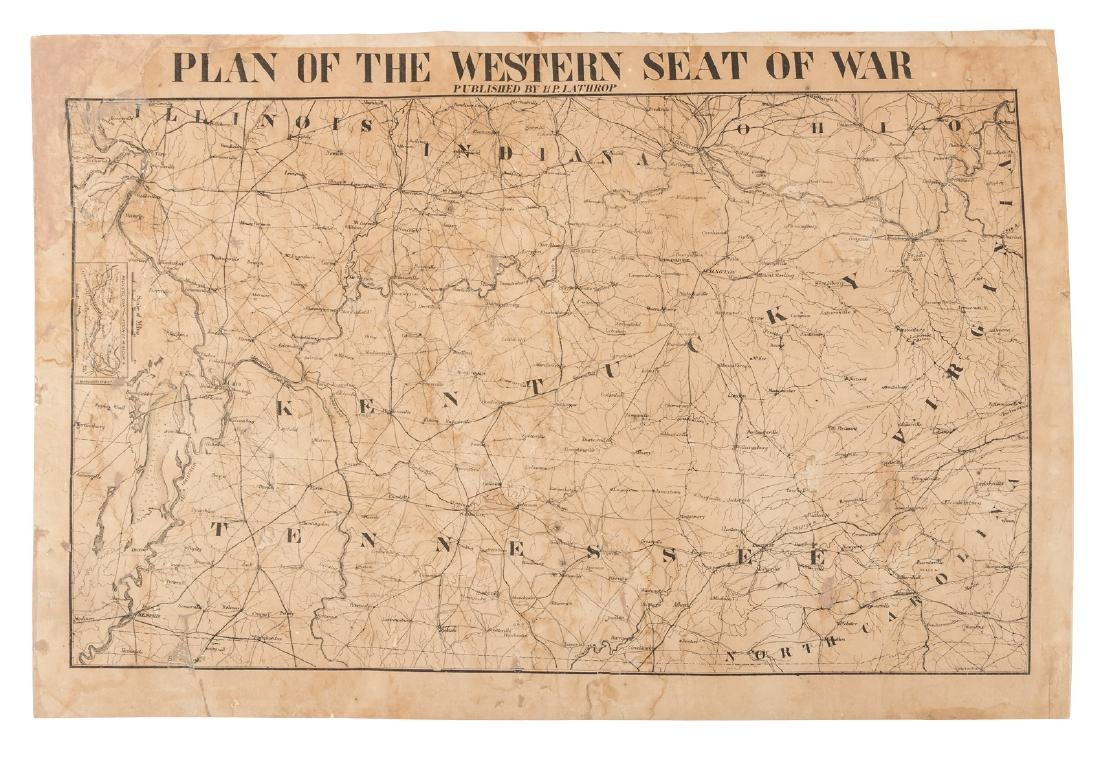 Rare Confederate map of western theatre of war