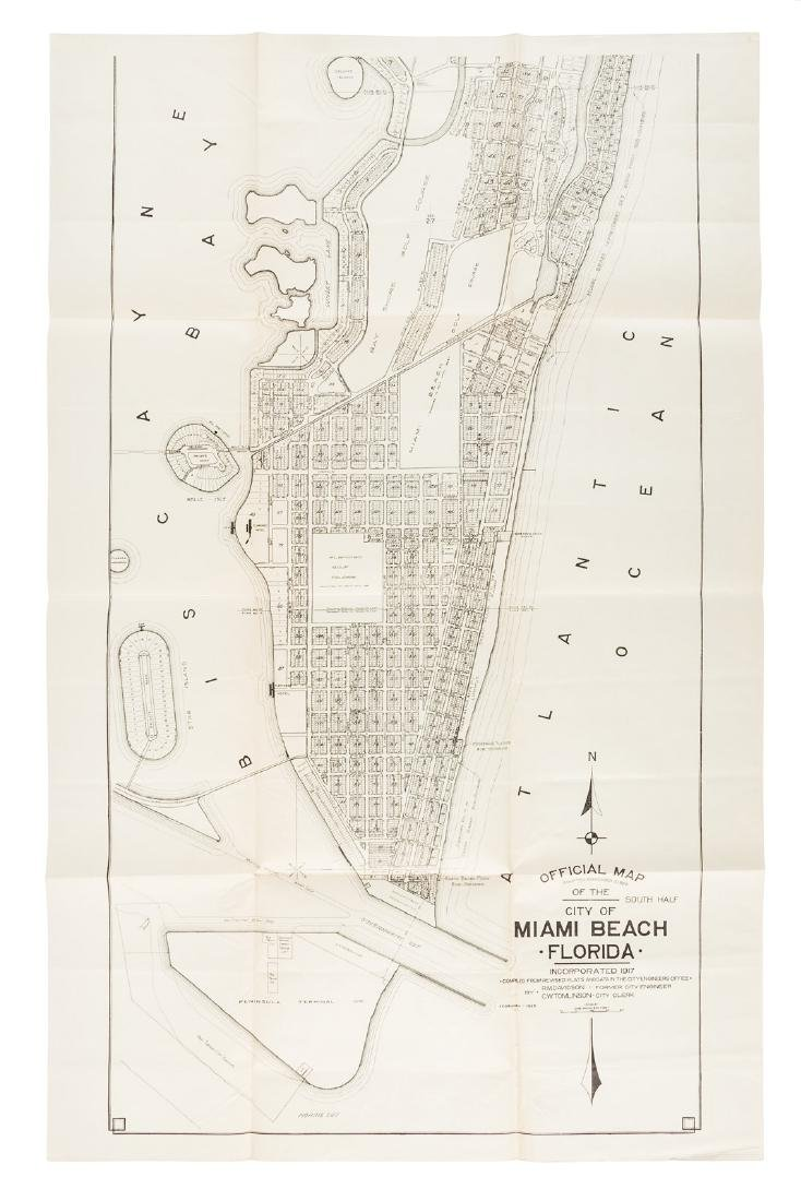 Early map of Miami Beach Florida